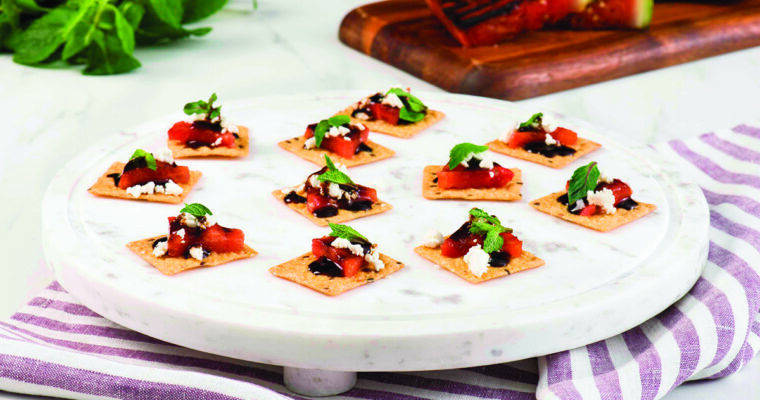 Grilled Watermelon Feta and Balsamic Cracker Canapes